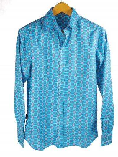 Cotton Shirt Retro Blue -...