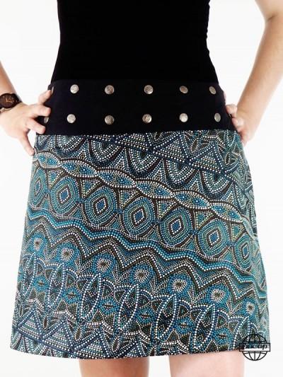 jupe genoux ethnique motif à pois style aztèque aborigène africain