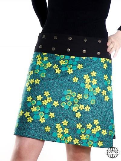 jupe verte imprimé liberty à petite fleurs taille haute
