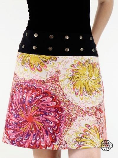 jupe portefeuille imprimé rouge femme  boutonnée devant