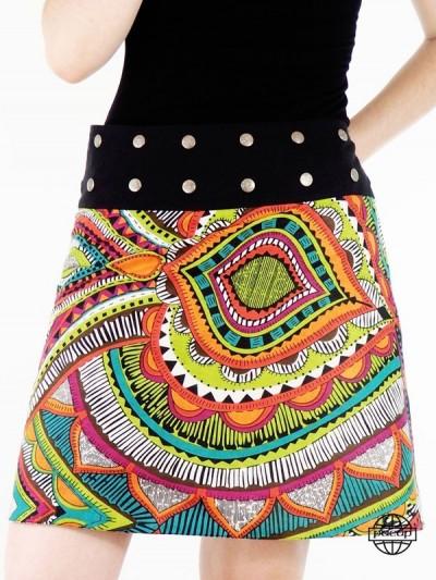 jupe à bouton multicolore femme en coton