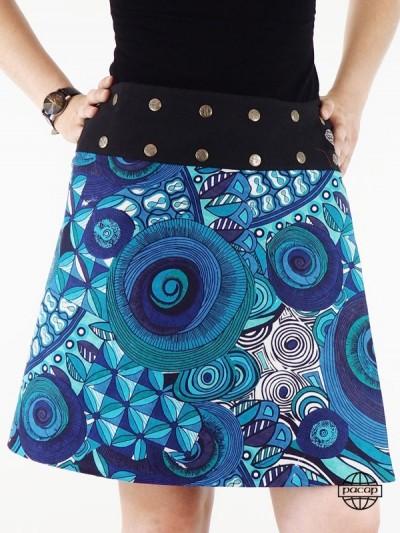 jupe bleue africaine coupe évasée