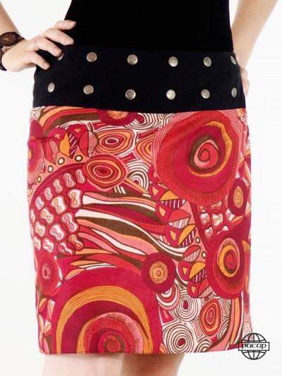 jupe ethnique rouge pour femme avec boutons
