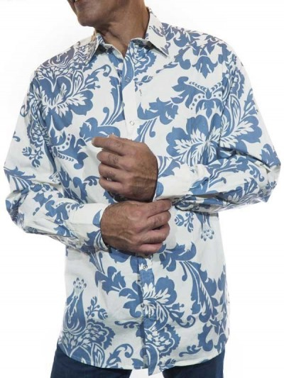 Floral Shirt Blue and White...