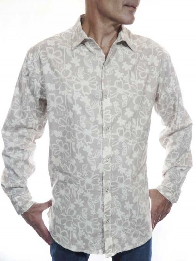 Floral Shirt Man Gray -...