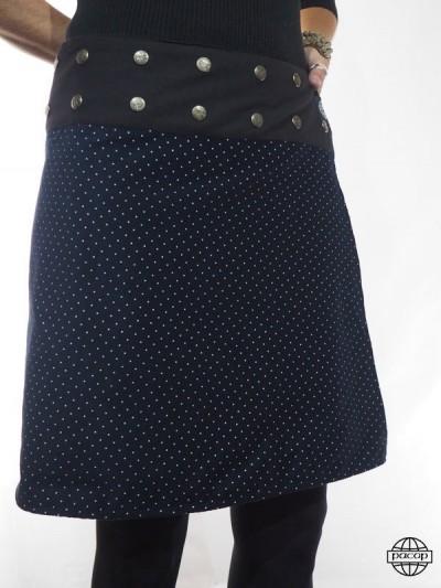 Jupe portefeuille boutonnée hiver bleu marine à pois blanc