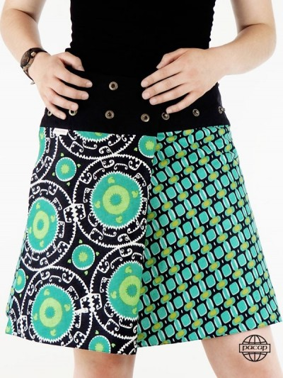 jupe verte émeraude motif oriental