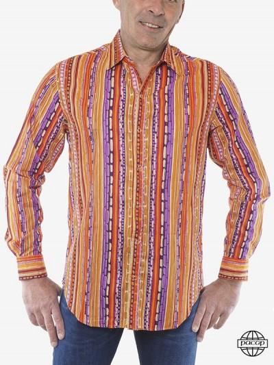 Man Shirt Stripes Orange...