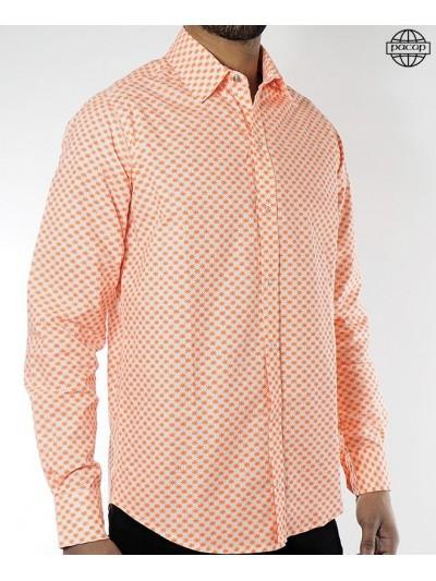 Orange Man shirt collar...