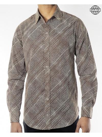 Man Striped Shirt Brown...