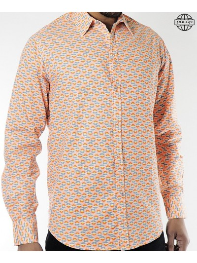 Man Shirt Orange Geometric...