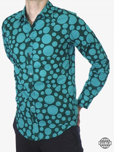 Man shirt Aqua Blue Polka...