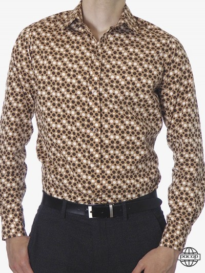 Elegant Brown Shirt Polka...