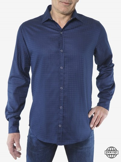 Blue Shirt Men Plaid Cotton...