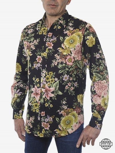 Man Shirt Green Flowers and...