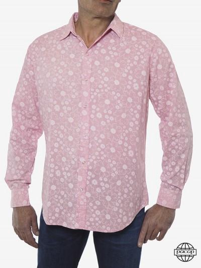 Men's Shirt Pink Flower -...