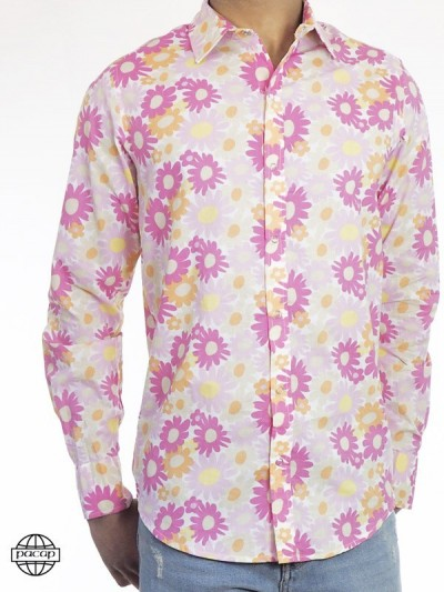 Cotton Shirt Pink Flower...