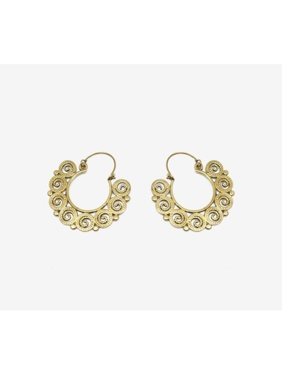 Hoop Earrings Brass Work...