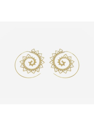 Earrings Spirals Gold Metal...