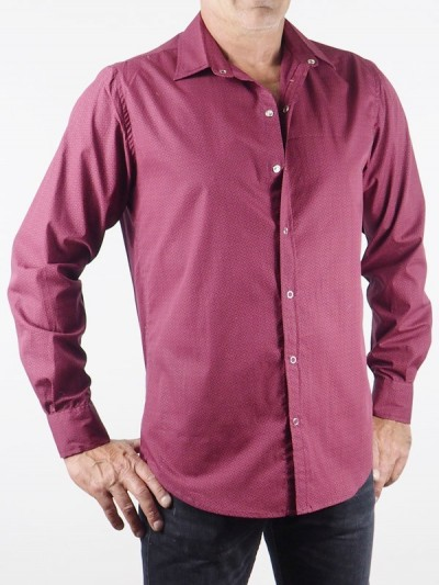 Man Shirt Rosa Lila Cotton...