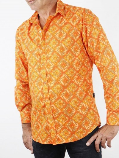 Man Shirt Geometric Orange...