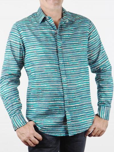 Man Striped Shirt Blue...