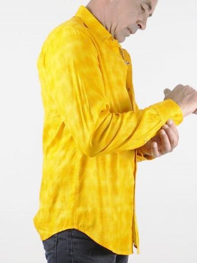 Chemise Homme Jaune Orange...