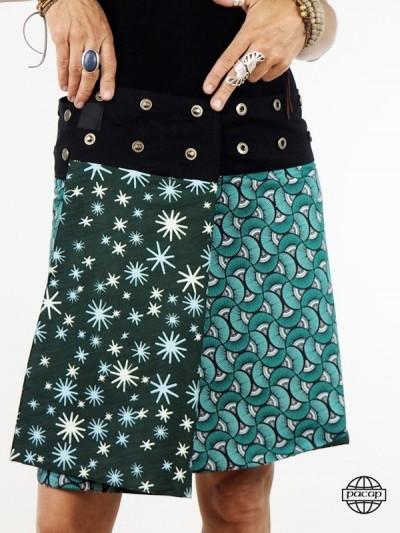 Buttoned Skirt Woman Green...