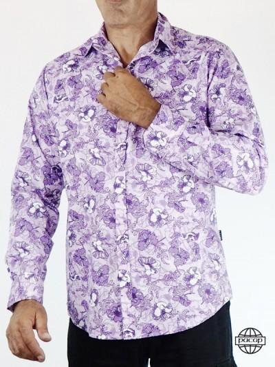 Chemise Homme Imprimé Tropical Rose et Violet 100% Coton Marque Française