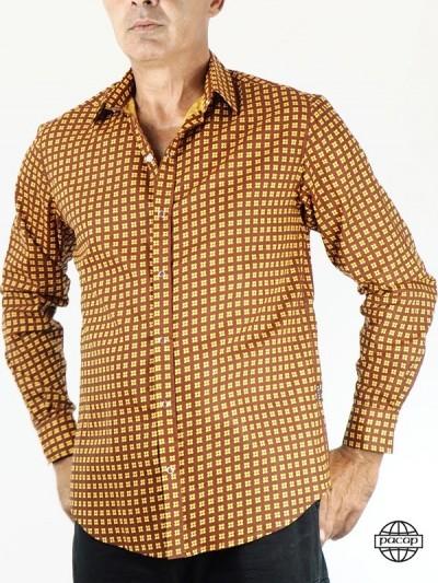Brown Shirt Man Button...