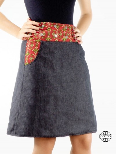 Skirt Jeans Black Cotton...