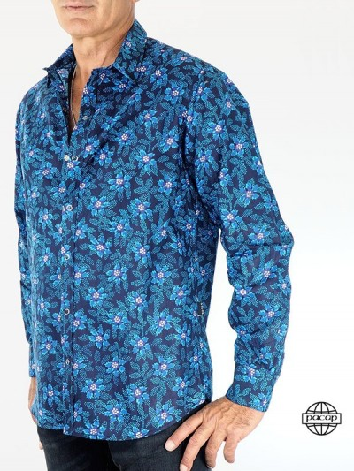 Man Shirt Hawaii-Blumen -...