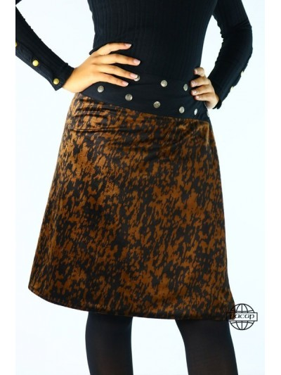 Brown Suede Skirt Kneeling...