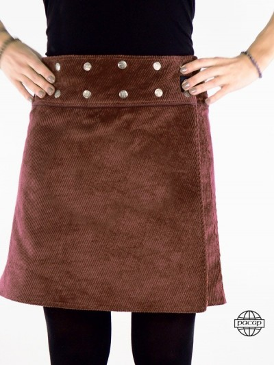 Skirt Brown Belted Snaps...