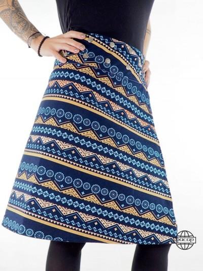 jupe longue Bleue réversible en velours imprimé ethnique et chic type aborigène indigène