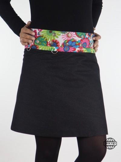 Jupe XL Jean Bleu ou Noir Uni Imprimé Fleurs 8 en 1 Réversible