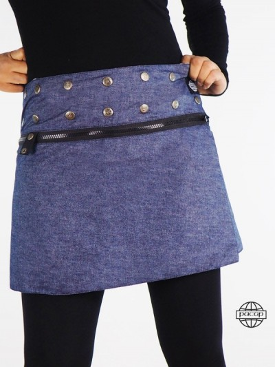 """Mini Skirt"" Denim Zip..."