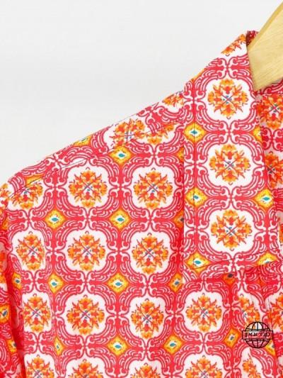 Chemise Homme Été Imprimé Marocain Mosaïque de Fleurs Col Italien Manches Longues Marque Française Responsable