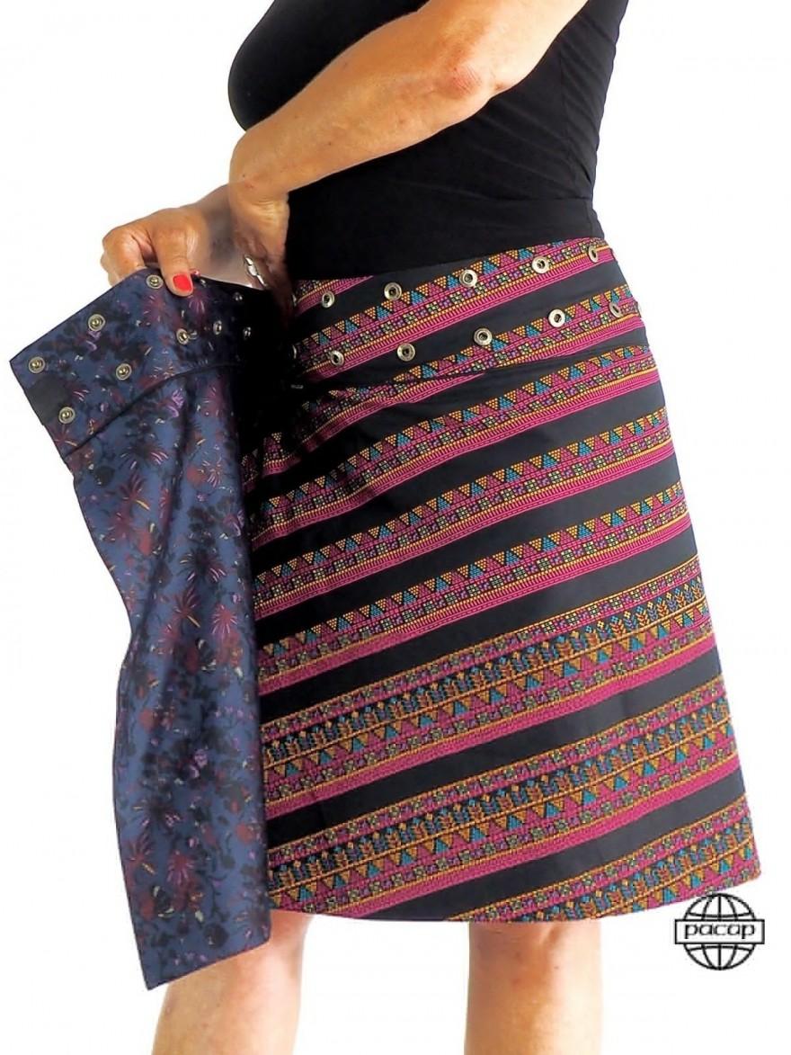Jupe Courte r/éversible Portefeuille Ceinture Bouton imprim/é Mandala Ethnique Taille Unique Jupe Hippie Rouge et Noire
