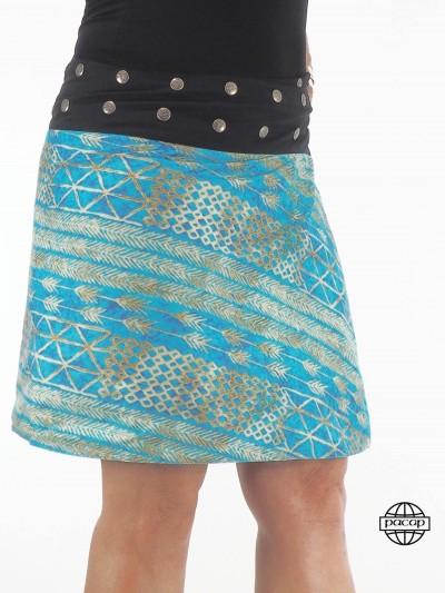 Blue Skirt Mi-Longue Flower...