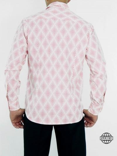 Chemise Blanche Cintrée à Pois Rose Homme Manches Longue Coupe Droite Col Italien 100% Coton Marque Française