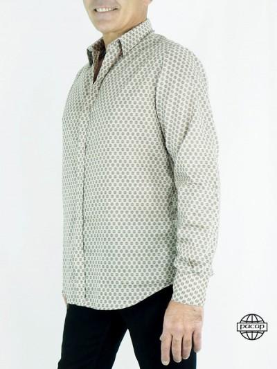Chemise Homme à Thème Année 60-70,'s Old School Manches Longues Col Classique Coupe Cintrée