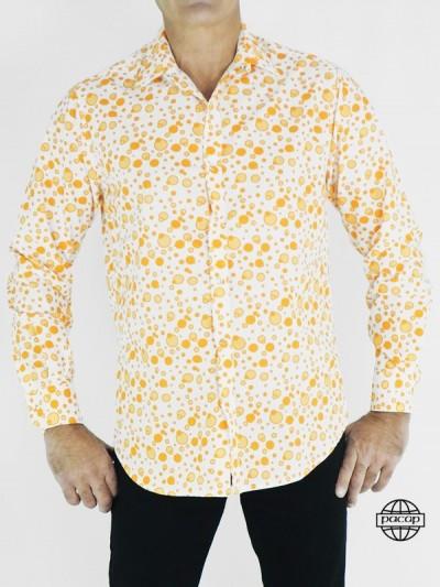 Chemise Blanche Ajustée à Bulles Oranges Pour Homme Manches Longues Coupe Droite