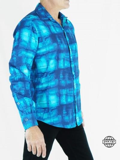 Chemise Abstraite Fashion Bleue en Coton pour Homme Manches Longues