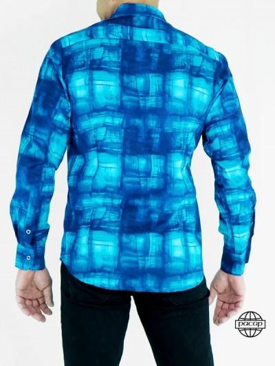 Chemise Abstraite Fashion Bleue en Coton pour Homme Manches Longues Coupe Cintrée
