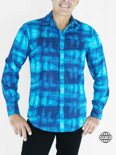 Chemise Abstraite Fashion Bleue en Coton pour Homme Manches Longues Coupe Cintrée Marque Française