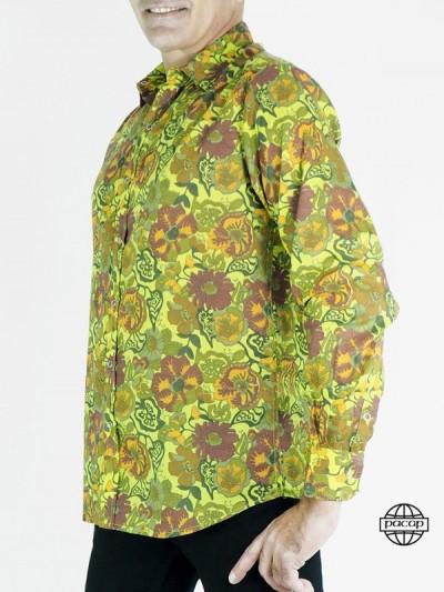 Chemise Hawaïenne Vert Kaki Originale Coton à Fleurs Homme 100% Coton