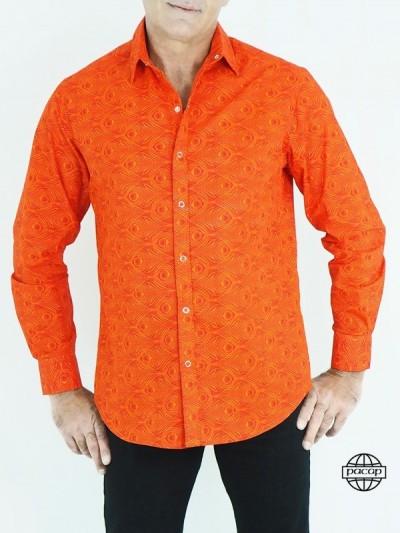 Chemise Orange Rouge à Imprimés Géométrique Pas Cher Homme Manches Longues