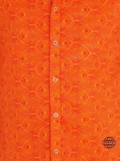 Chemise Orange Rouge à Imprimés Géométrique Pas Cher Homme Manches Longues Été