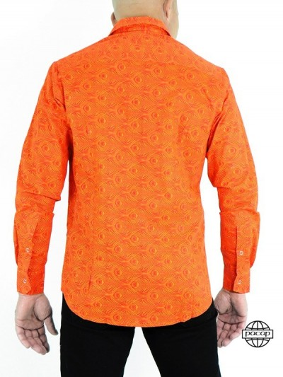 Chemise Orange Rouge à Imprimés Géométrique Pas Cher Homme Manches Longues Été Coupe Droite Marque Française